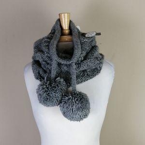 4/$25 NWT gray cable knit cowl neck pom pom scarf